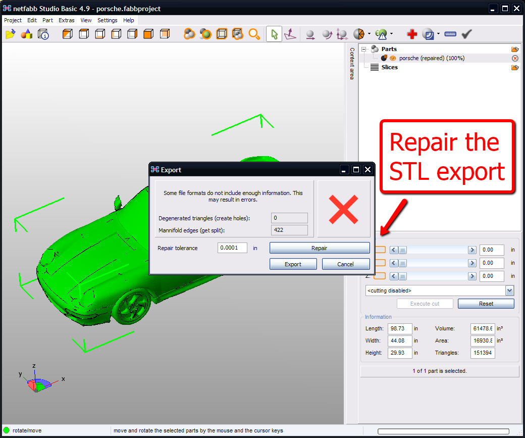 netfabb repair for STL export